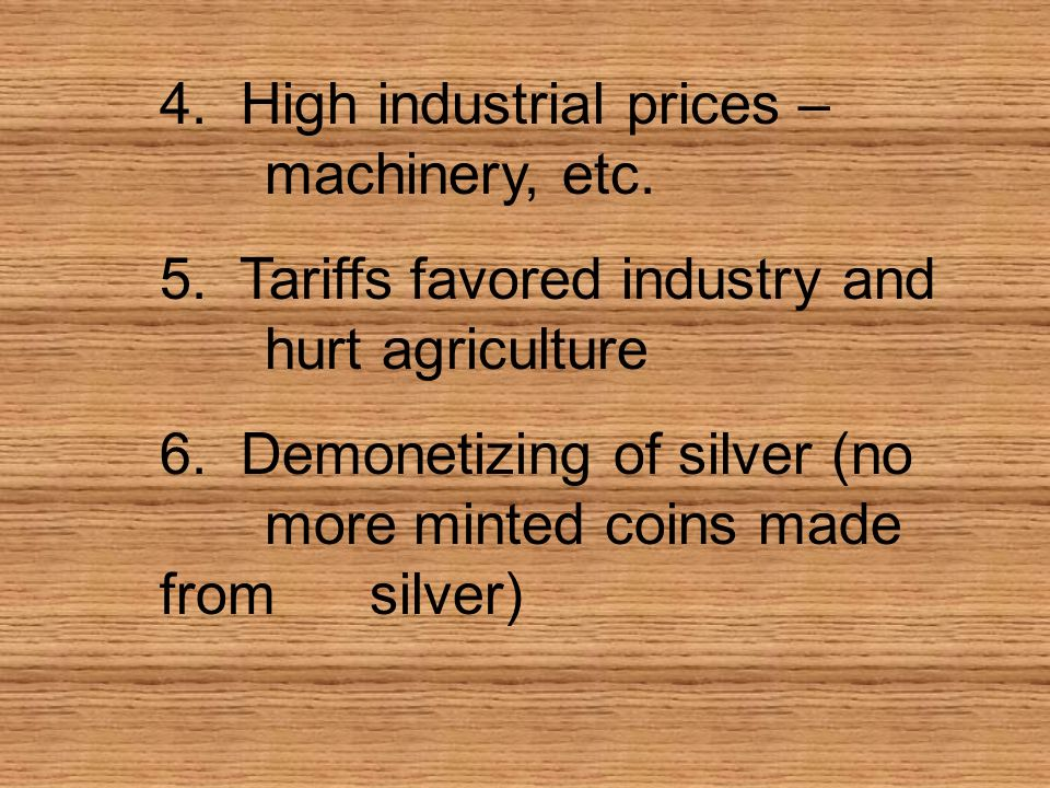 4. High industrial prices – machinery, etc.