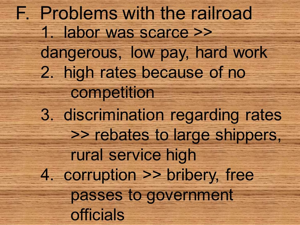 F. Problems with the railroad