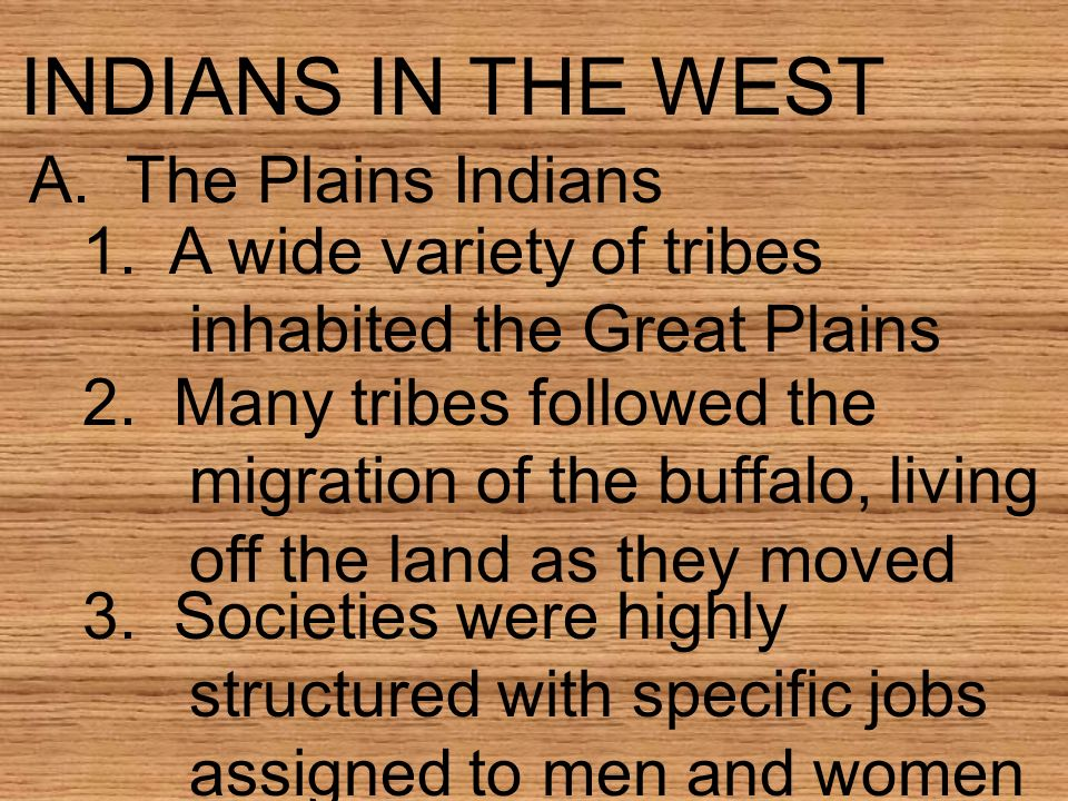 INDIANS IN THE WEST A. The Plains Indians