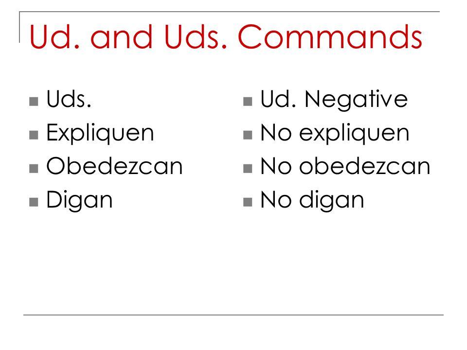 Ud. and Uds. Commands Uds. Expliquen Obedezcan Digan Ud. Negative