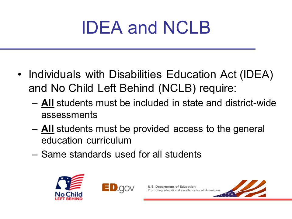 IDEA and NCLBIndividuals with Disabilities Education Act (IDEA) and No Child Left Behind (NCLB) require: