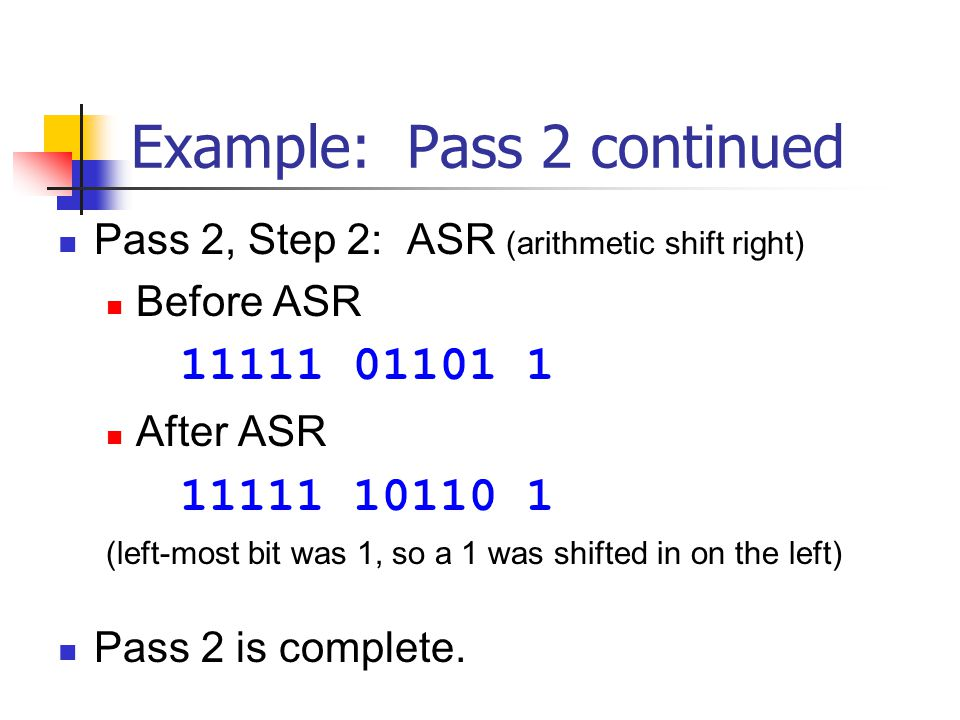 Example: Pass 2 continued