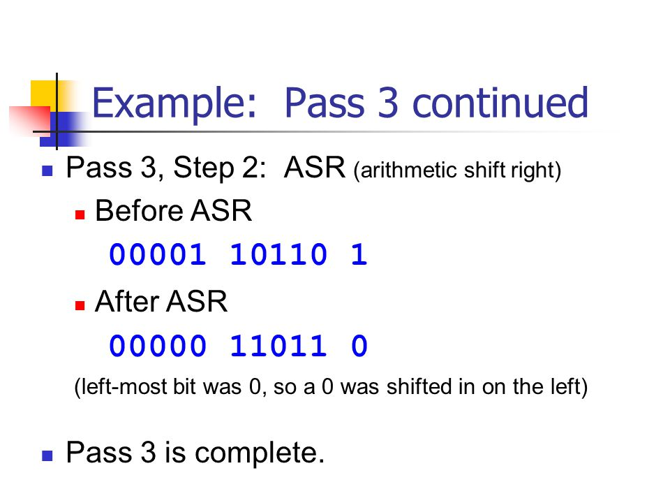 Example: Pass 3 continued