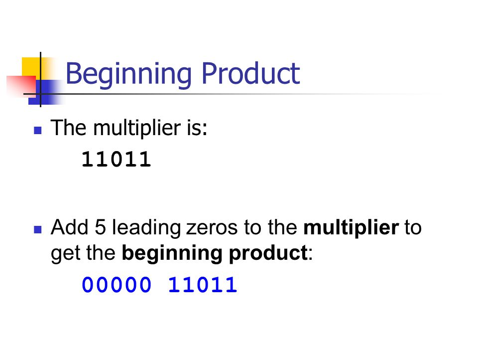 Beginning Product The multiplier is: 11011