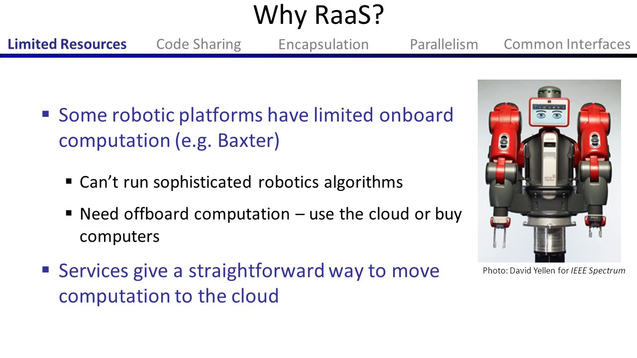Why RaaS Limited Resources. Code Sharing. Encapsulation. Parallelism. Common Interfaces.