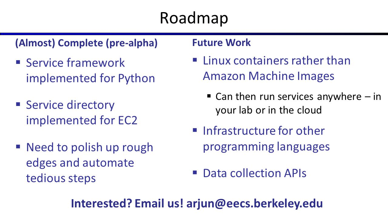 Roadmap Linux containers rather than Amazon Machine Images
