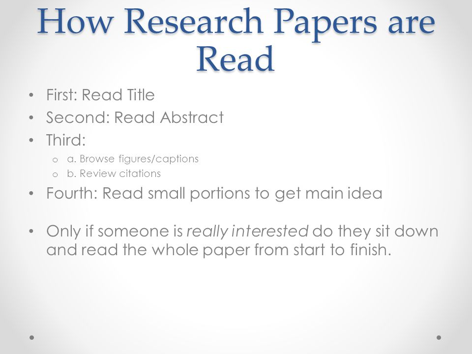 How Research Papers are Read