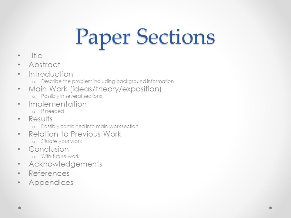 Paper Sections Title Abstract Introduction