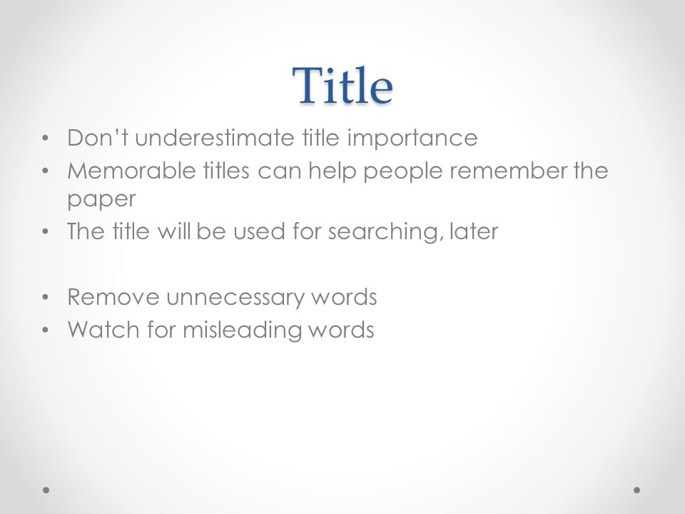 Title Don't underestimate title importance