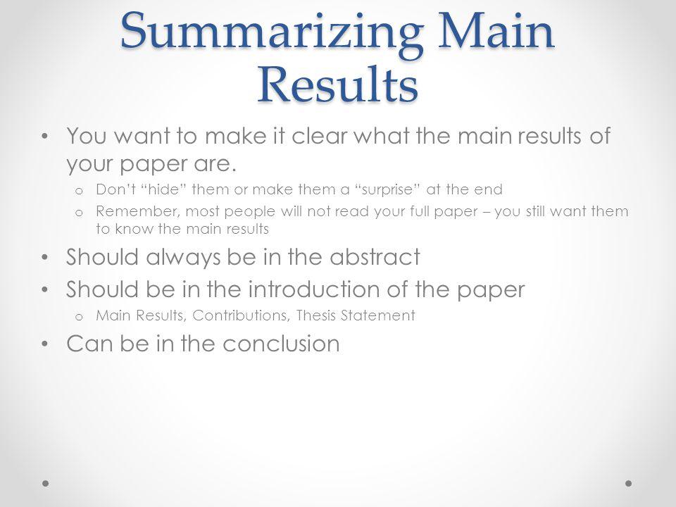 Summarizing Main Results