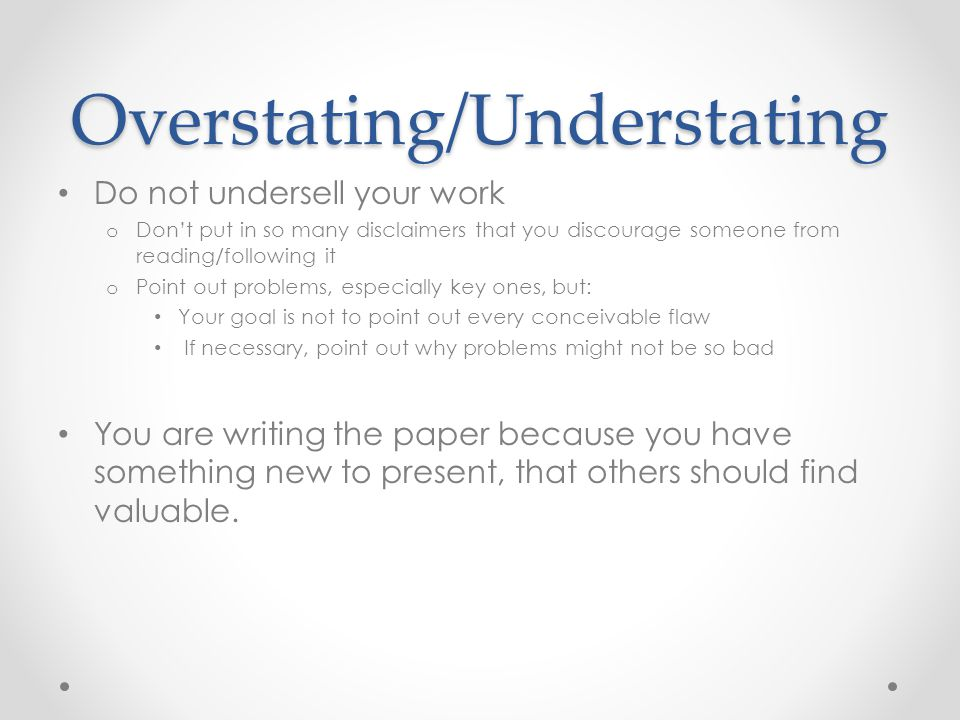 Overstating/Understating