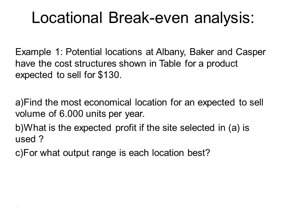 Locational Break-even analysis: