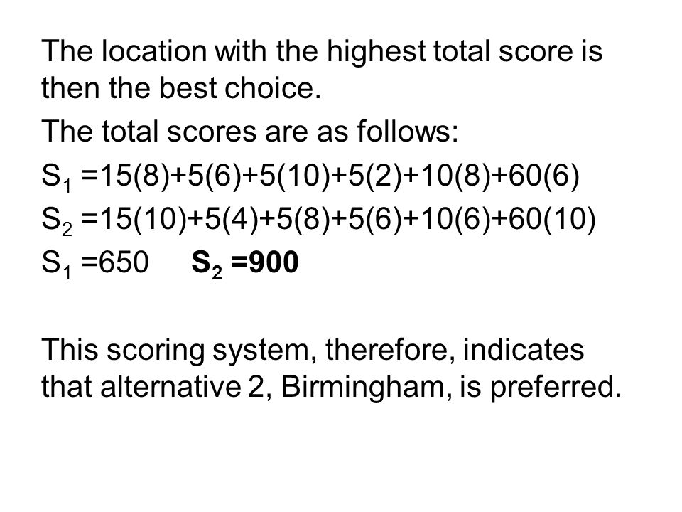 The location with the highest total score is then the best choice