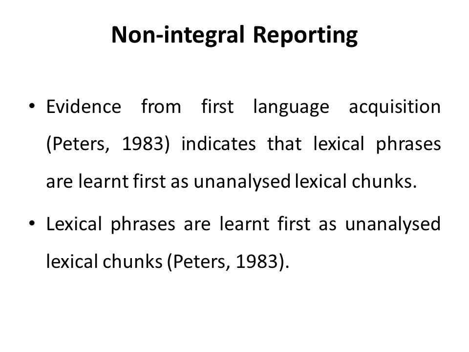Non-integral Reporting