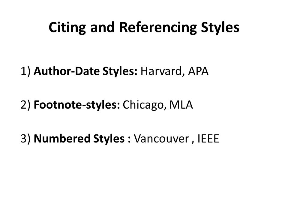 Citing and Referencing Styles