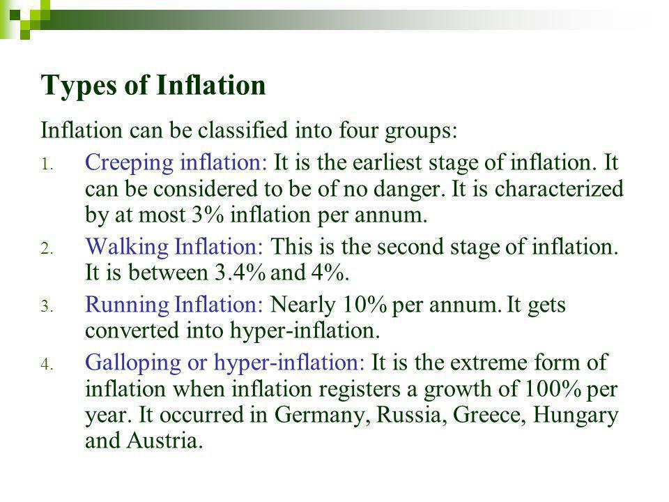 Types of Inflation Inflation can be classified into four groups: