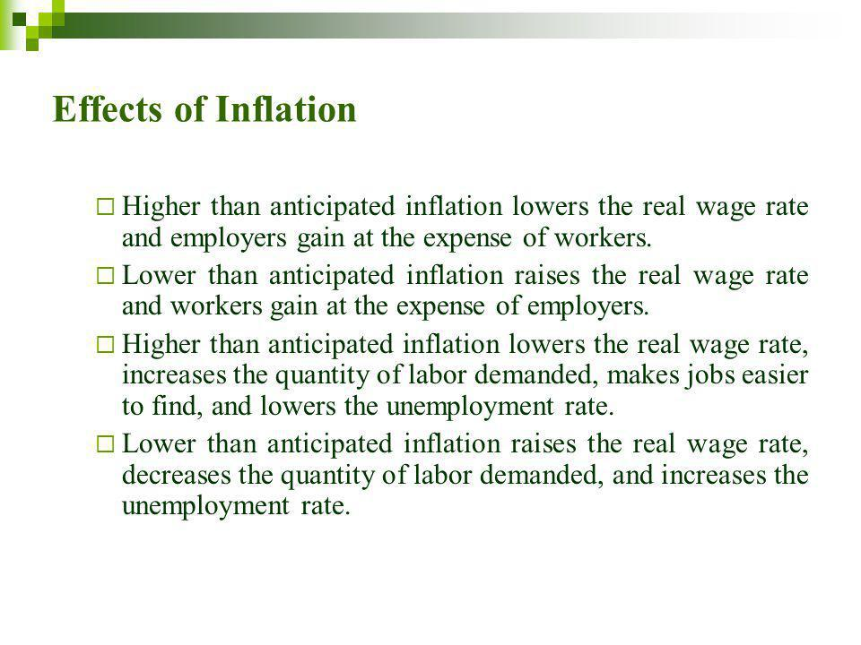 Effects of Inflation Higher than anticipated inflation lowers the real wage rate and employers gain at the expense of workers.