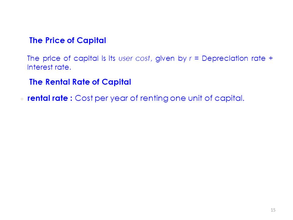 The Rental Rate of Capital