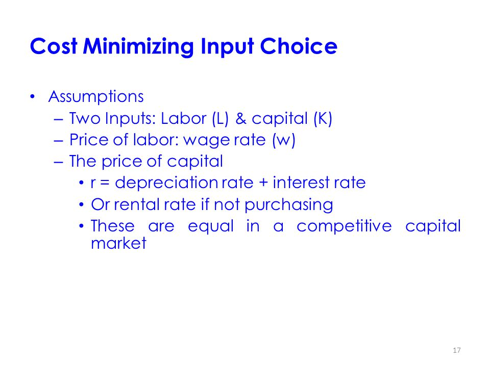 Cost Minimizing Input Choice