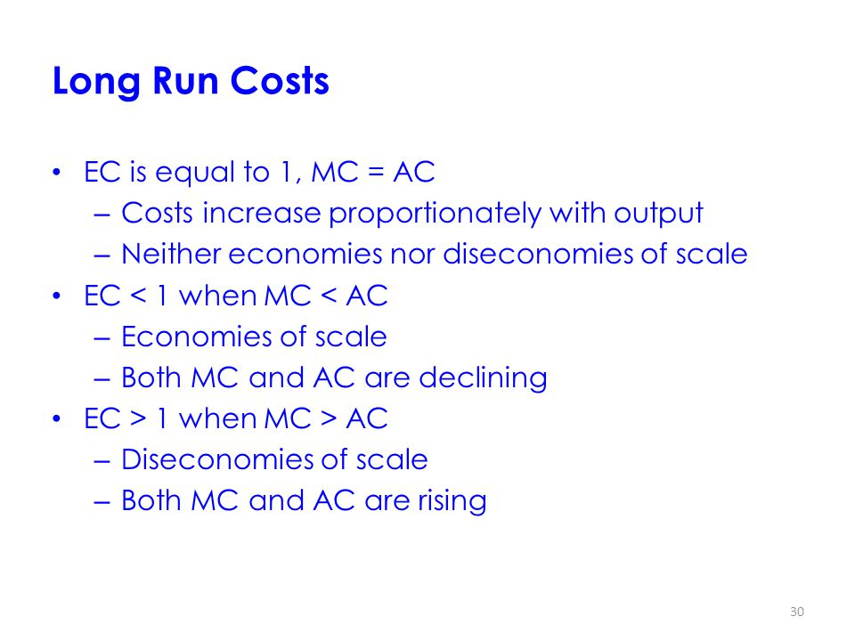 Long Run Costs EC is equal to 1, MC = AC