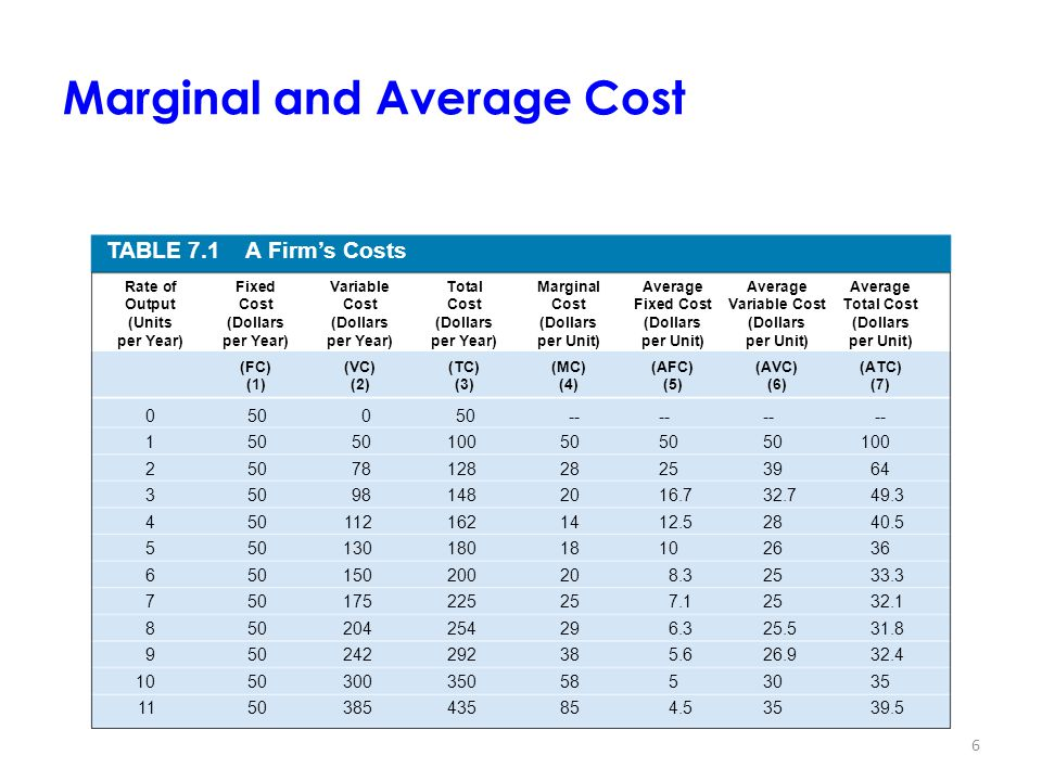 Marginal and Average Cost