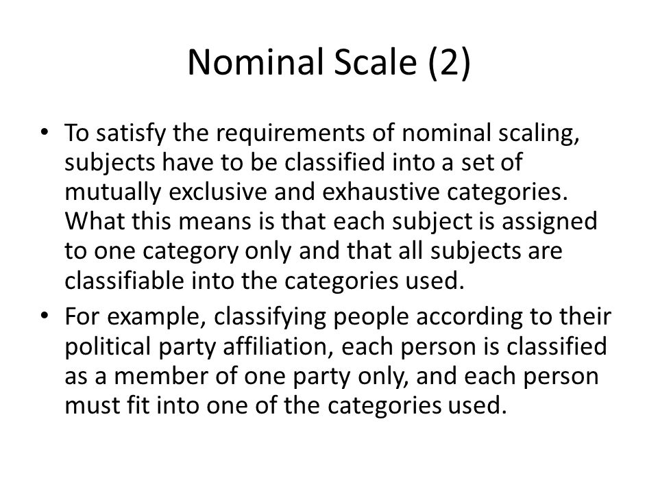 Nominal Scale (2)
