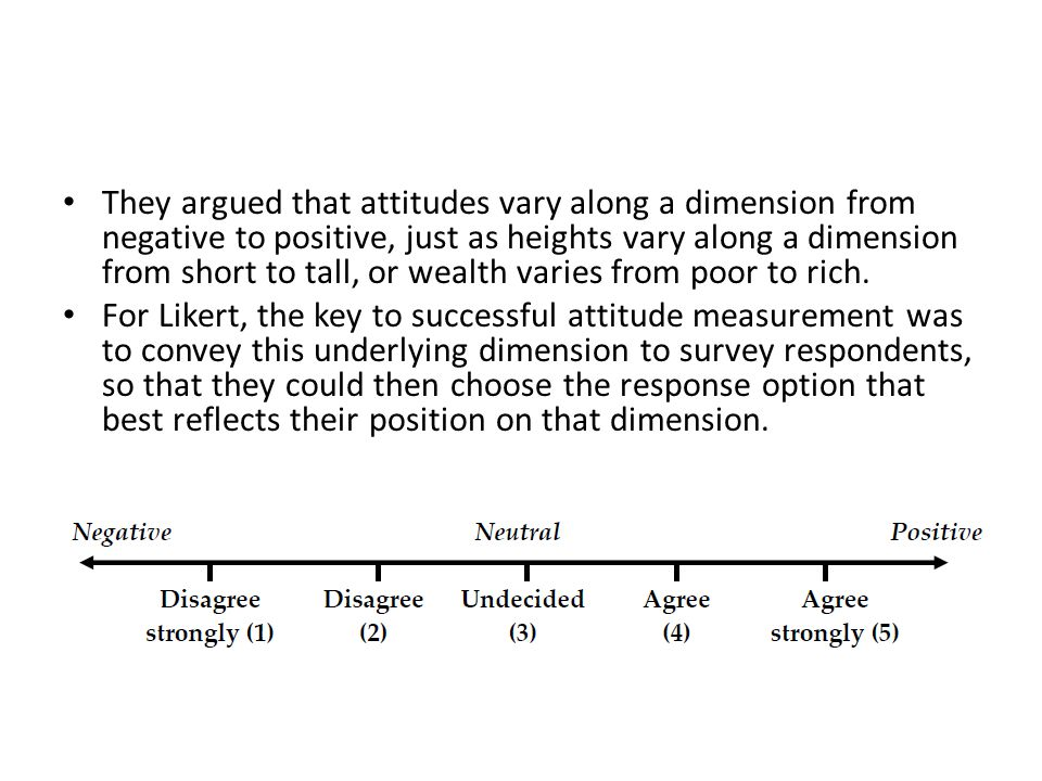 They argued that attitudes vary along a dimension from negative to positive, just as heights vary along a dimension from short to tall, or wealth varies from poor to rich.