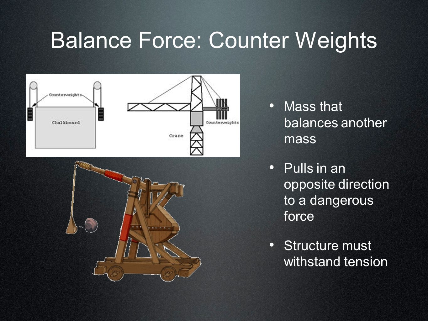 Balance Force: Counter Weights
