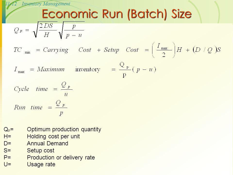 Economic Run (Batch) Size