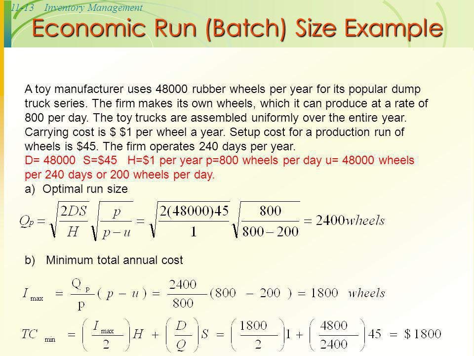 Economic Run (Batch) Size Example
