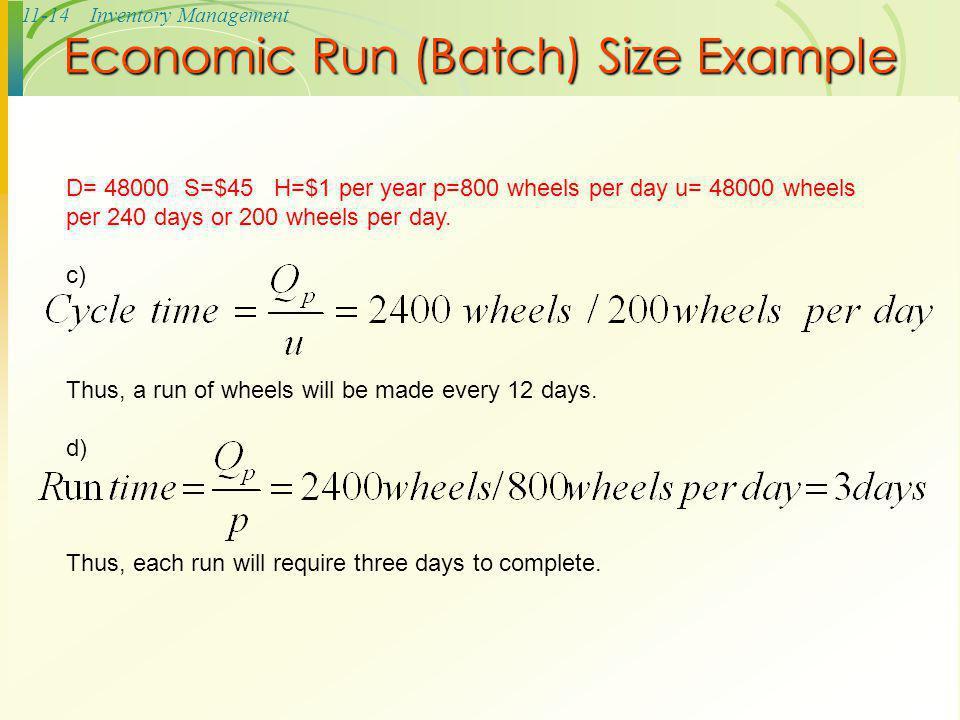Economic Run (Batch) Size Example