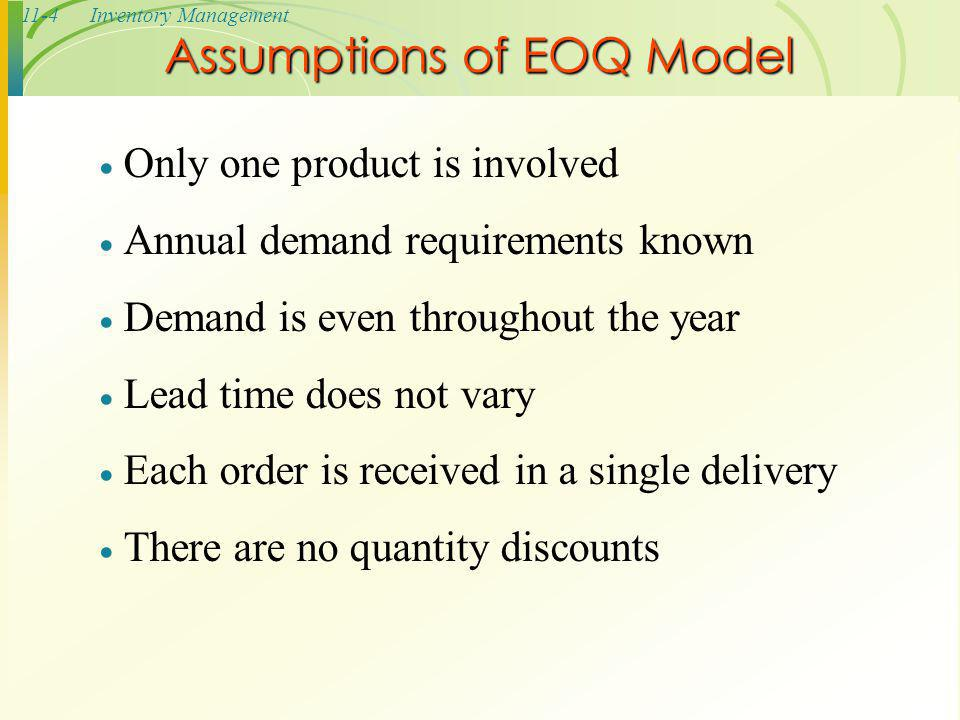 Assumptions of EOQ Model