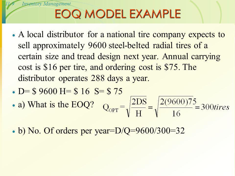 EOQ MODEL EXAMPLE