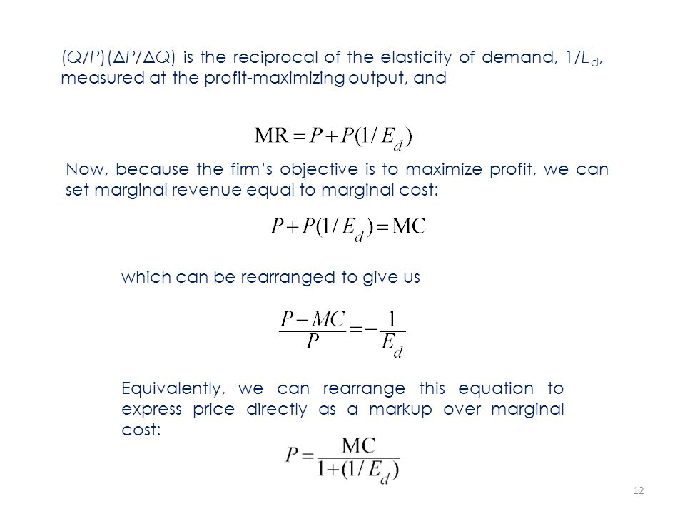 (Q/P)(ΔP/ΔQ) is the reciprocal of the elasticity of demand, 1/Ed, measured at the profit-maximizing output, and