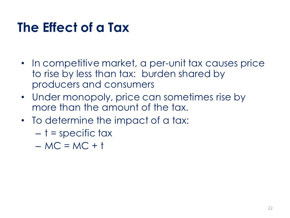 The Effect of a Tax In competitive market, a per-unit tax causes price to rise by less than tax: burden shared by producers and consumers.