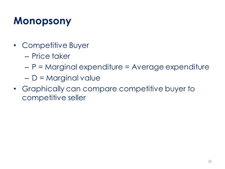 Monopsony Competitive Buyer Price taker