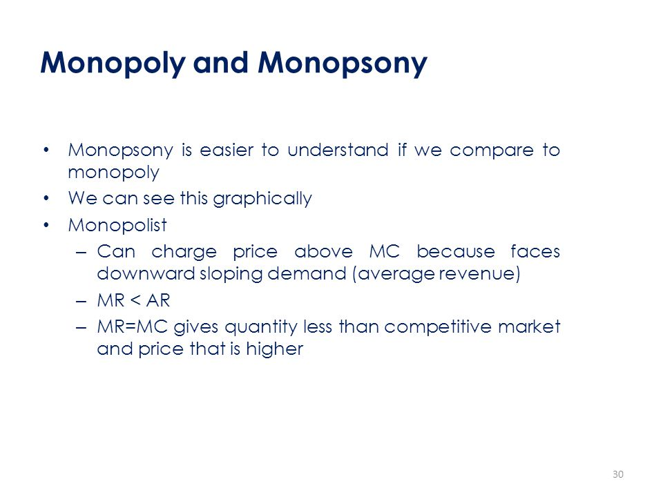 Monopoly and Monopsony