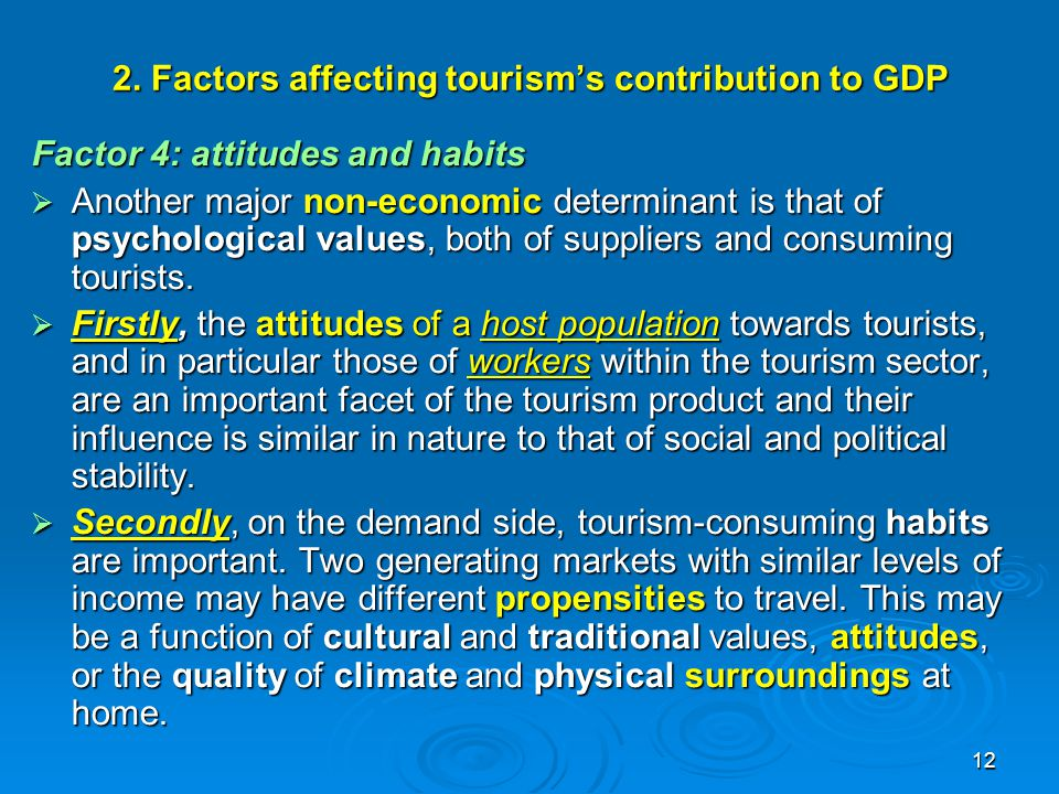 2. Factors affecting tourism's contribution to GDP