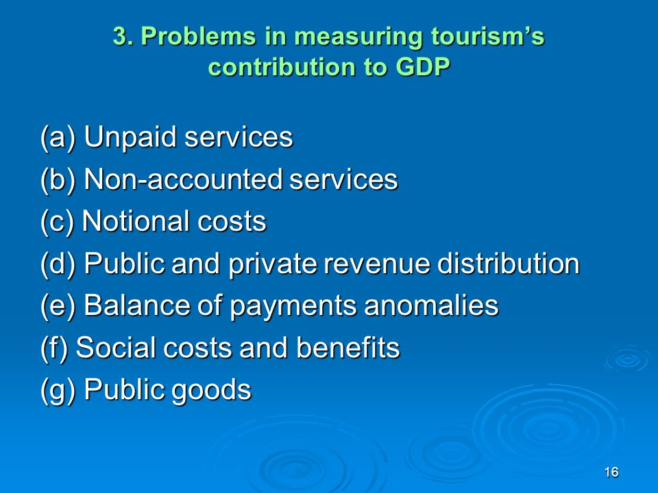 3. Problems in measuring tourism's contribution to GDP