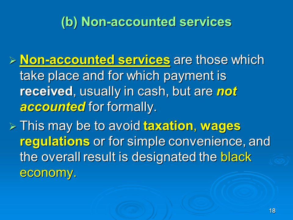 (b) Non-accounted services
