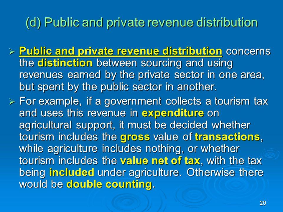 (d) Public and private revenue distribution