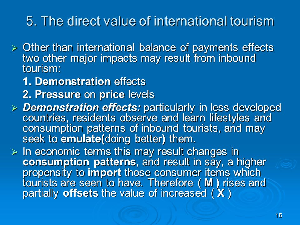 5. The direct value of international tourism