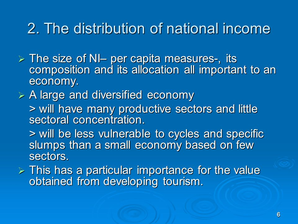 2. The distribution of national income
