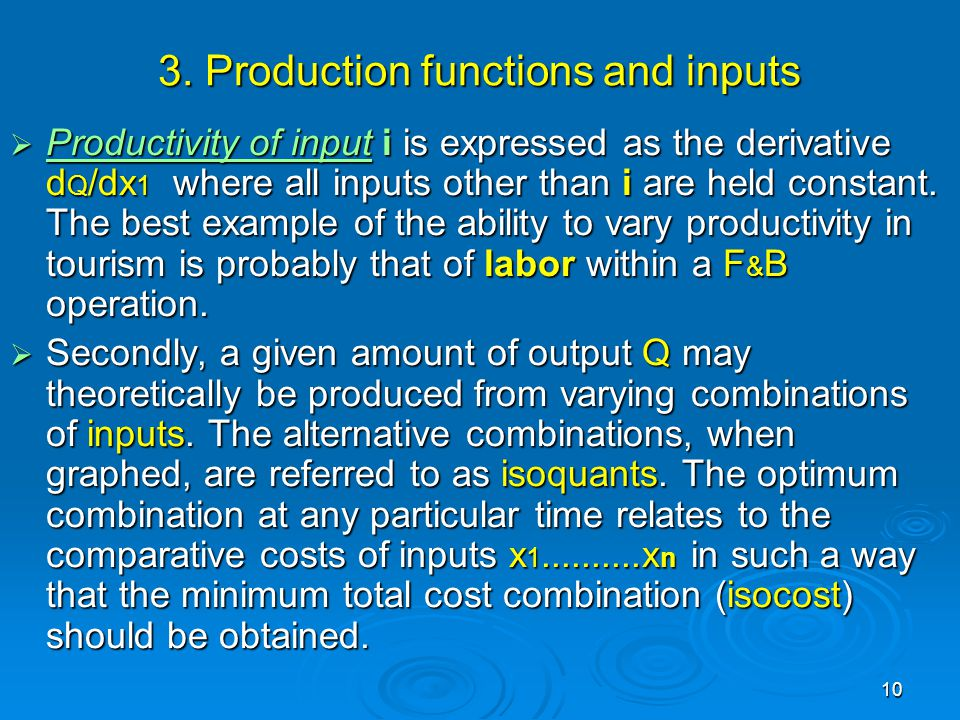 3. Production functions and inputs