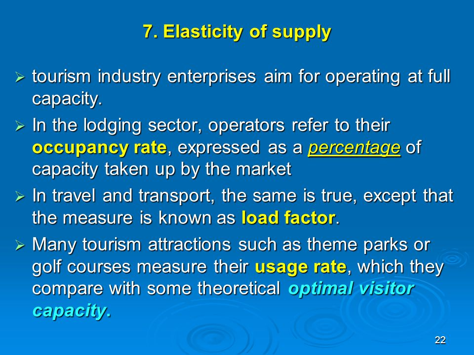7. Elasticity of supply tourism industry enterprises aim for operating at full capacity.