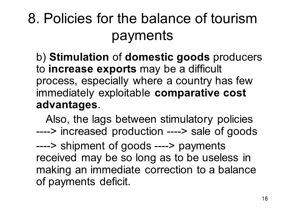 8. Policies for the balance of tourism payments