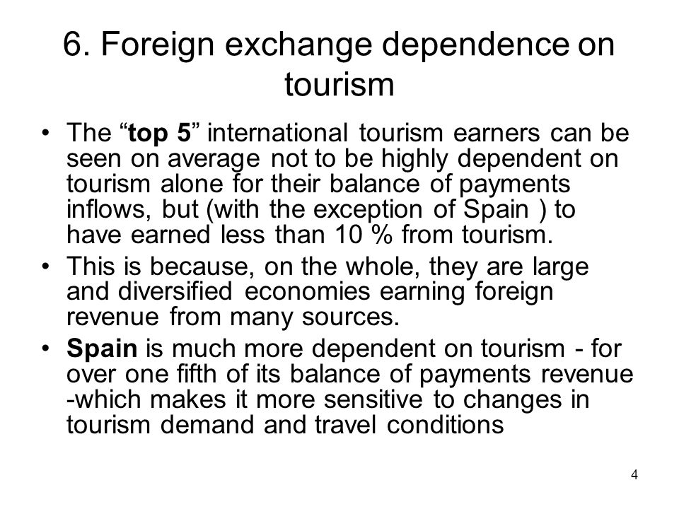 6. Foreign exchange dependence on tourism