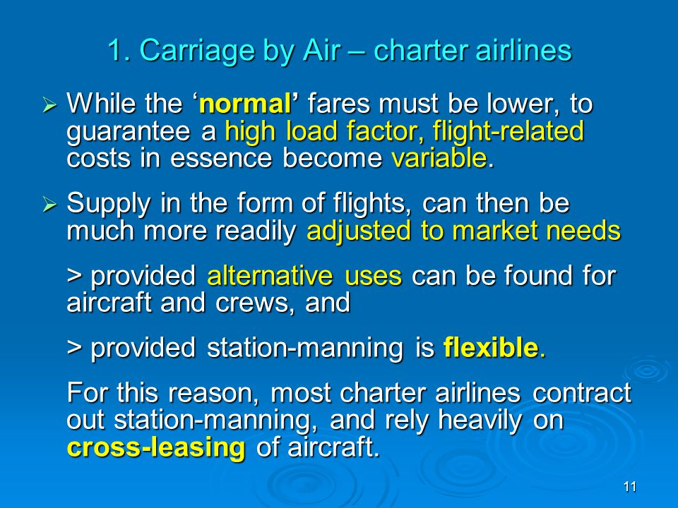1. Carriage by Air – charter airlines