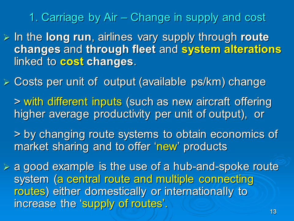 1. Carriage by Air – Change in supply and cost