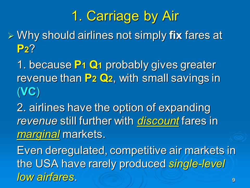 1. Carriage by Air Why should airlines not simply fix fares at P2